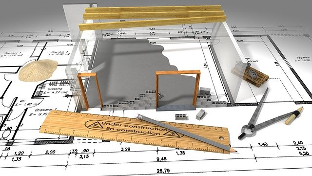 Construction diagram of building and ruler with compass